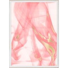 Prairie Wind Triptych in Pink No. 2, gold leaf, unframed