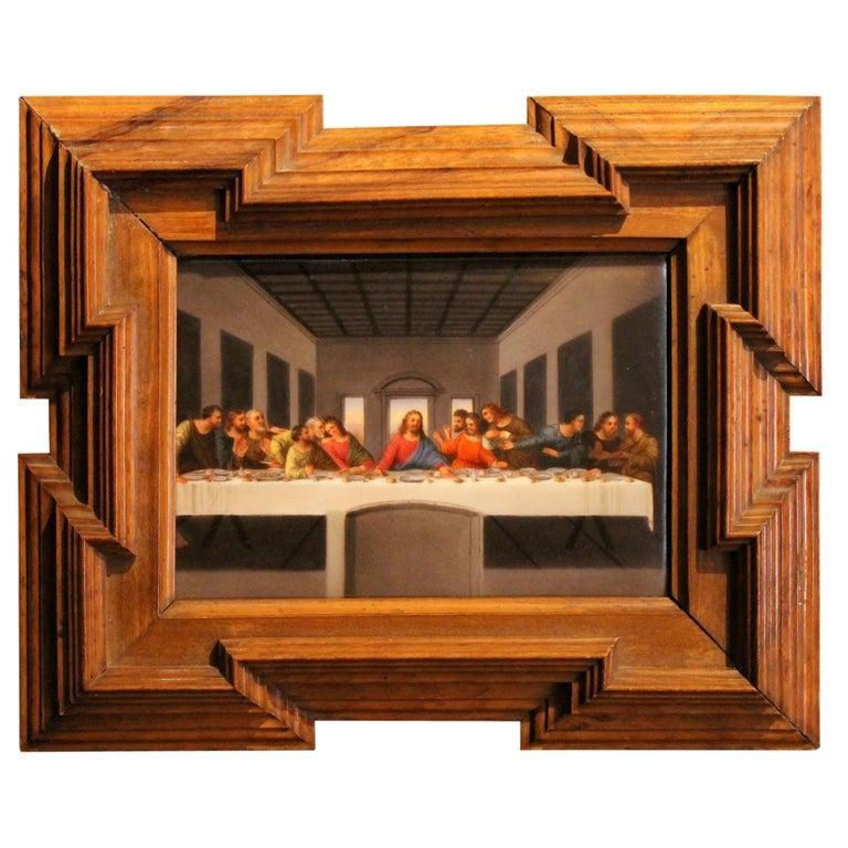 Print Porcelain Plaque Last Supper Painting after Leonardo in Carved Wood Frame