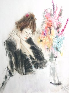 QUIET AFTERNOON Signed Hand Colored Lithograph, Seated Portrait Woman Flowers