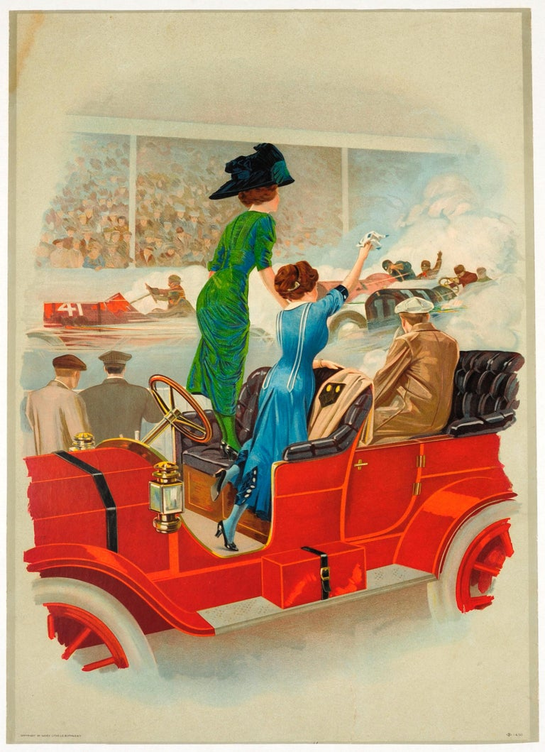 Unknown Print - Rare Early Original Antique Car Racing Poster (Possibly The Minneapolis Races)