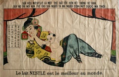 Rare Original Vintage Poster For Nestle Condensed Baby Milk Drink - Asia Markets