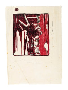 Red Landscape - Original Woodcut - Mid 20th Century