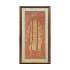 Red-Toned Abstract Single Standing Figure Print Signed D+G