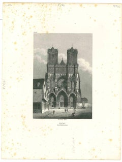 Reims Kathedrale - Original Lithograph - Mid-19th Century