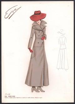 'Rende Vous' Italian 1960s Women's Fashion Design Illustration