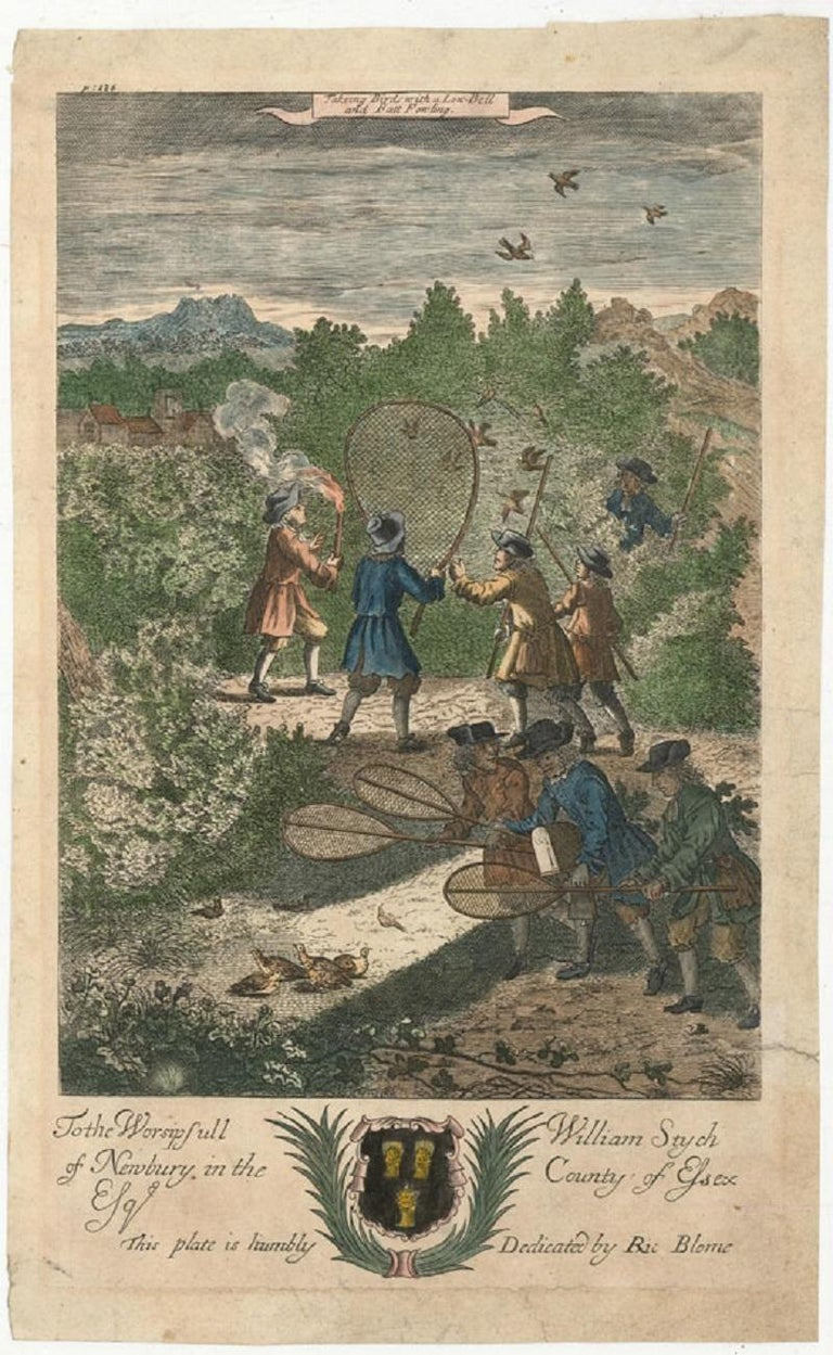 Richard Blome (1660-1705) - c.1710 Engraving, Bird Hunting Scene - Gray Figurative Print by Unknown