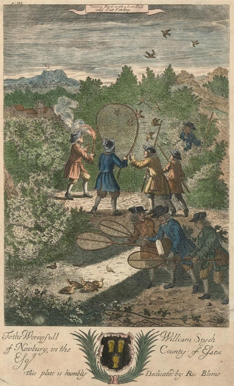 An interesting hand-coloured copper plate engraving titled 'Taking Bird with a Low Bell and Batt Fowling'. Published as part The Gentleman's Recreations, intended for the education and edification of the British country gentleman at the dawn of