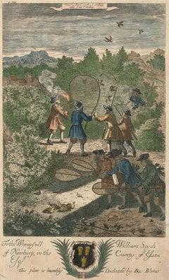 Richard Blome (1660-1705) - c.1710 Engraving, Bird Hunting Scene