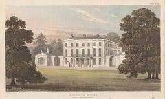 Rockbear House, Devon, English Regency country house colour aquatint, 1818