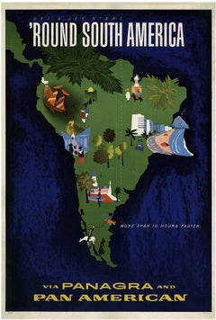'Round South America Via Panagra and Pan American original travel poster