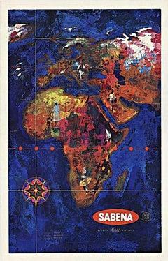 Sabena Belgian World Airlines original vintage travel poster to Africa