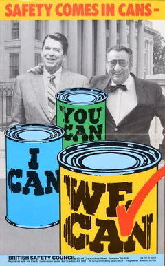 Safety Comes in Cans original vintage poster Health - British Safety Council