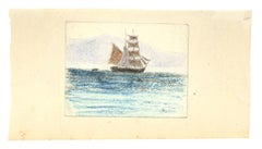 Sailing Ship - Original Pastel on Paper - Early 20th Century