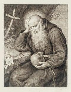 Saint Jerome with Skull - Original Etching - 18th Century