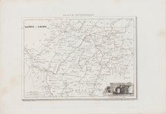 Salon et Loire Map - Original Lithograph - 19th Century