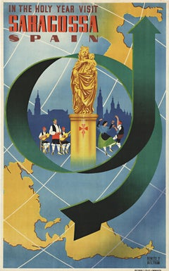 "Saragossa Span in the Holy Year original vintage travel poster ""Zaragosa"""