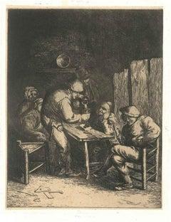 Scène de Bistrot - Unknow Artist After Adrian Van Ostade - 18th Century