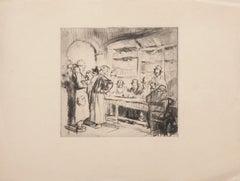Scholars - Original Etching on Paper - 19th Century
