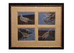 Sea Birds Quartet in Blue and Black