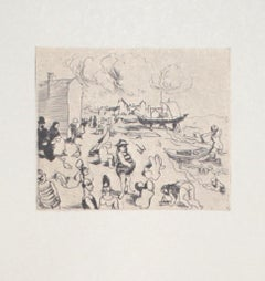Seaside - Original Etching on Paper - 20th Century