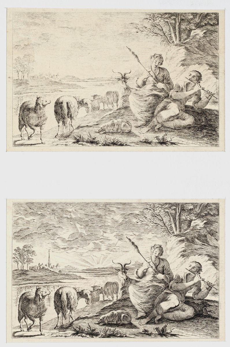 Shepherds - Set of 2Original Etchings - 1760 ca.