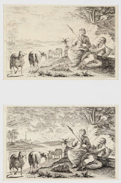Shepherds - Set of 2Original Etchings - 1760 ca.