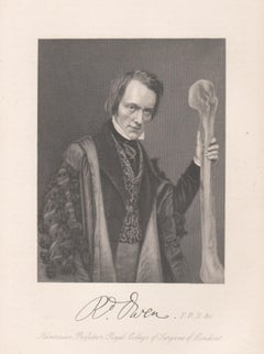 Sir Richard Owen, palaeontologist, portrait engraving, 1861