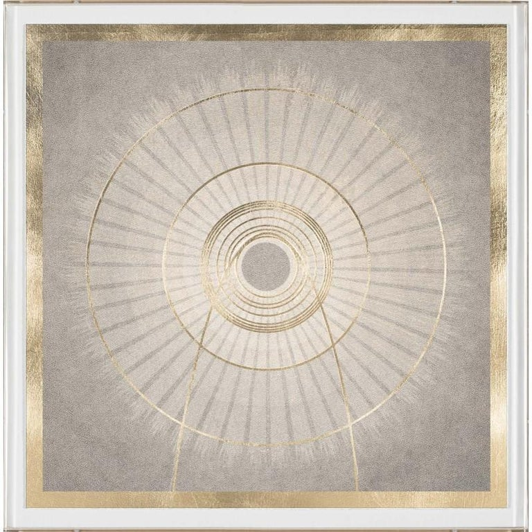 Unknown Abstract Print - Solaris No. 6, gold leaf, framed