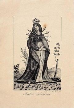 Sorrowful Madonna - Original Etching - 19th Century