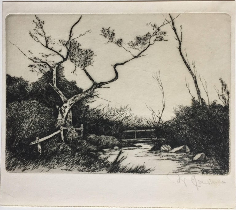 Spring Country  Landscape with Bridge and Brook. - Barbizon School Print by Unknown