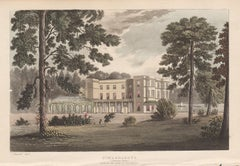 St Margarets, Isleworth, English Regency country house colour aquatint, 1818