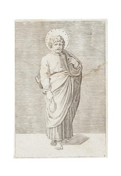 St. Matthew - Original Etching on Paper - 17th Century