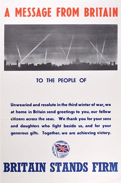 St Paul's Cathedral World War 2 poster Britain Stands Firm 1942 Blitz bombing