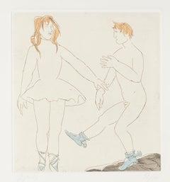 Step of Dance - Original Etching on Paper by Giacomo Manzù - 1970s