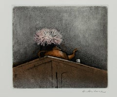 """Still Life with Teapot, New Year's Edition,"" Original Aquatint by A. Antonni"