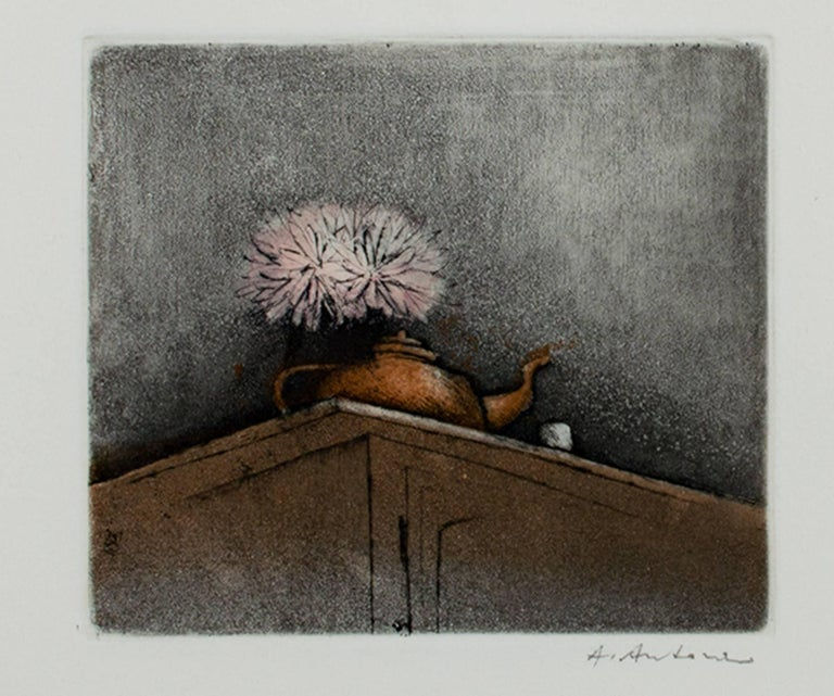"""Unknown Still-Life Print - """"Still Life with Teapot, New Year's Edition,"""" Original Aquatint by A. Antonni"""