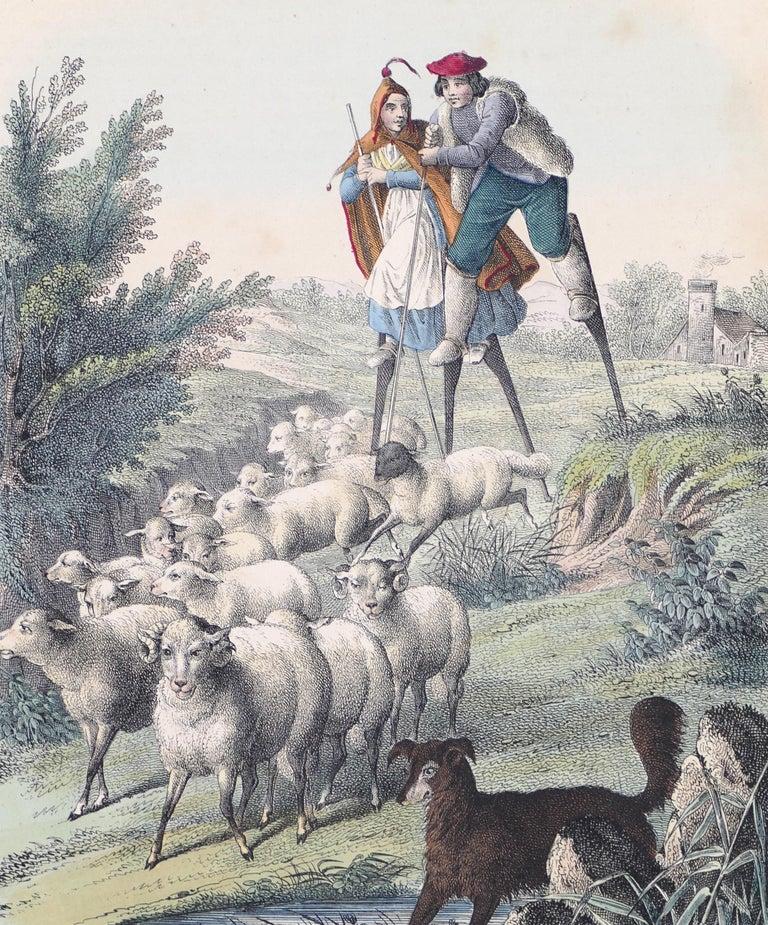 Stilt-Walking Shepherds - Original Lithograph - 1860 - Print by Unknown