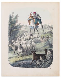 Stilt-Walking Shepherds - Original Lithograph - 1860