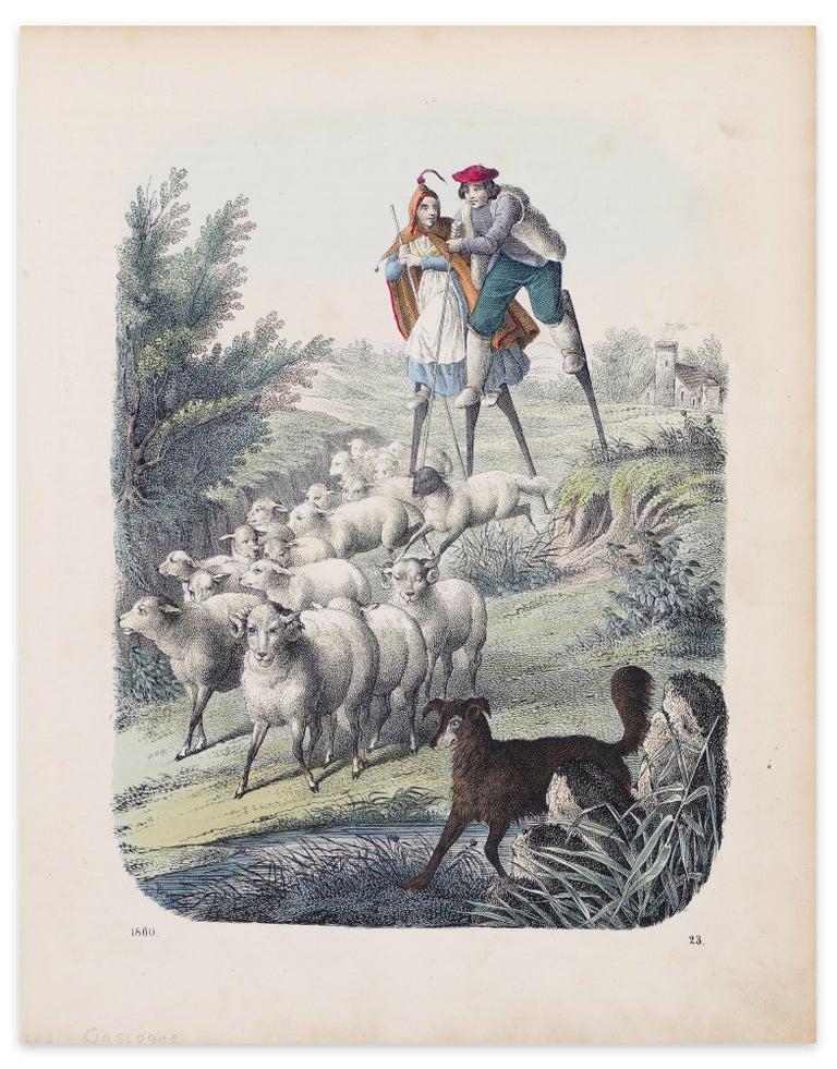 Unknown Animal Print - Stilt-Walking Shepherds - Original Lithograph - 1860