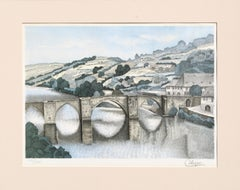 Stone Bridge Landscape - Hand-Colored Lithograph