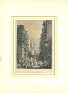 Strada St. Giovanni, Valetta - Original Lithograph - Early-19th Century