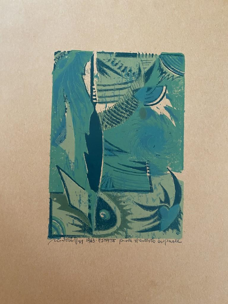Unknown Abstract Print - Summer Composition - Original Woodcut Print - 1963