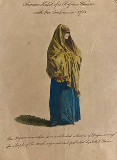 Summer Costume of a Russian Woman - Original Etching by J.B. Le Prince