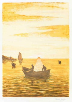 Sunset - Original Lithograph by Italian Master 1970s