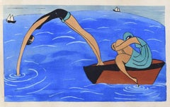 Swimmers / Woodcut Hand Colored in Tempera on Paper - Art Deco - 1920s