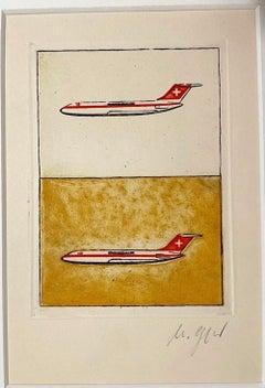Swissair - Original Etching  - 1970s
