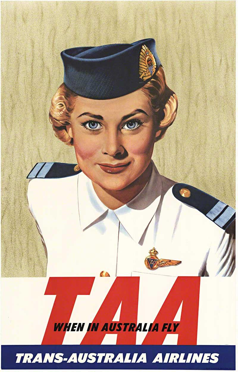 TAA Trans-Australia Airlines original vintage travel poster
