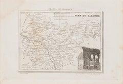 Tarn et Garonne Map - Original Lithograph - 19th Century