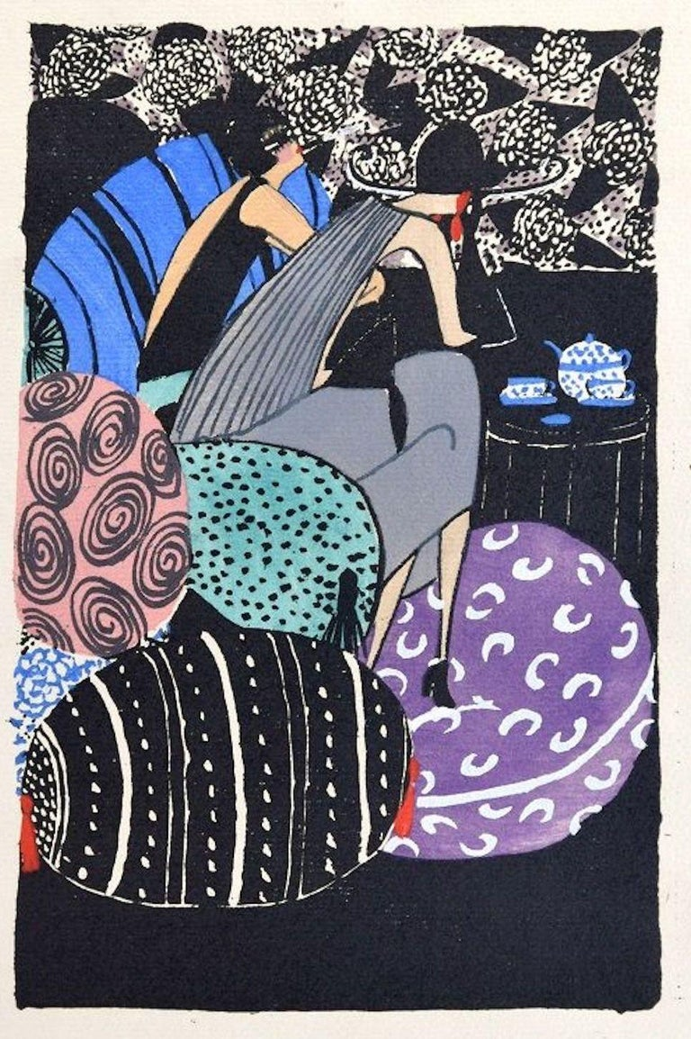 Unknown Figurative Print - Tea Time / Woodcut Hand Colored in Tempera on Paper - Art Deco - 1920s