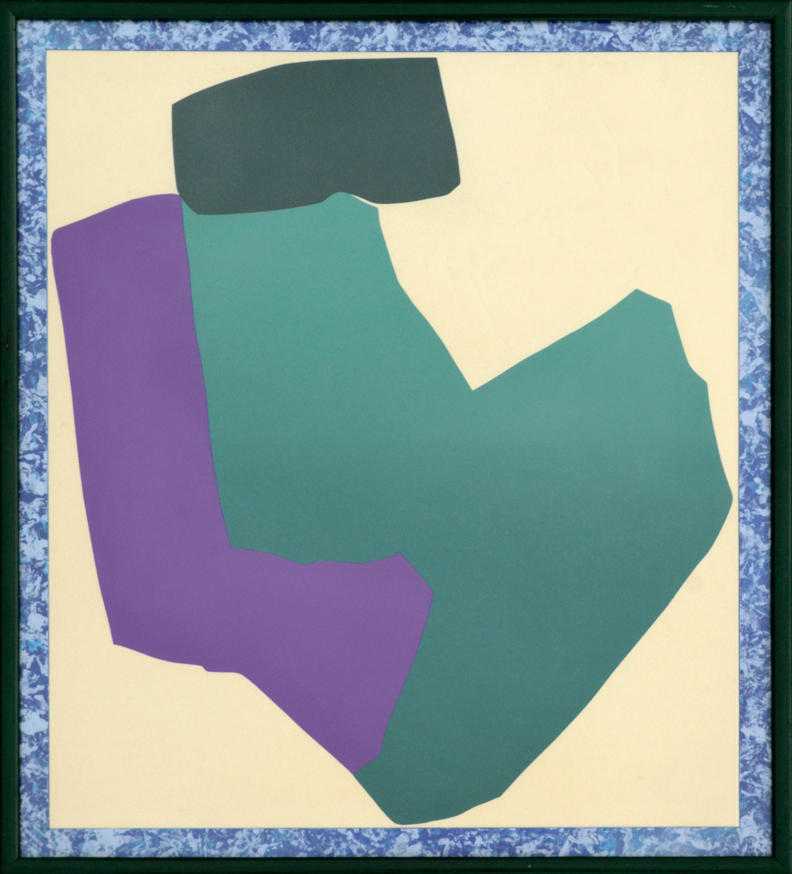 Teal and Purple Abstract Geometric Multi-Layer Screenprint